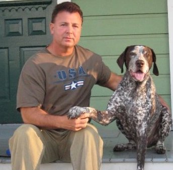 Curtis Barnes and Parker Dog from K9 Medibles CBD Oil for Dogs